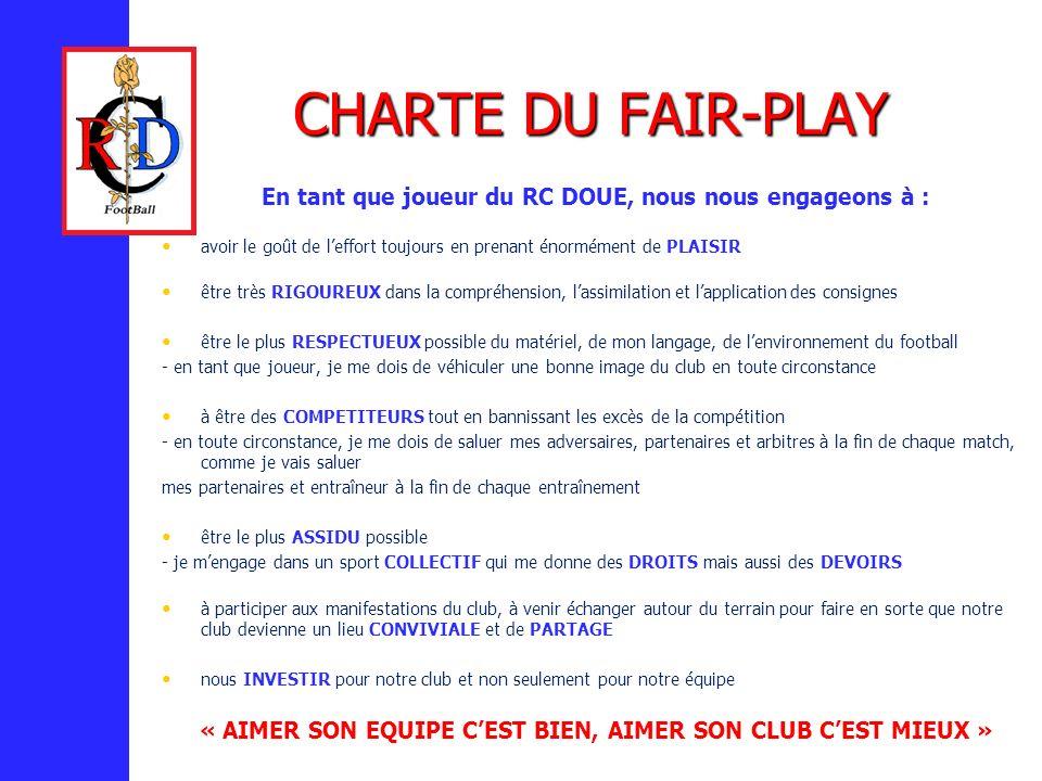 CHARTE DU FAIR-PLAY En tant que joueur du RC DOUE, nous nous engageons à : avoir le goût de l'effort toujours en prenant énormément de PLAISIR.
