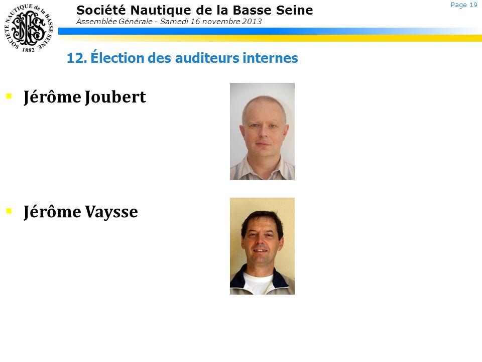 Jérôme Joubert Jérôme Vaysse Élection des auditeurs internes