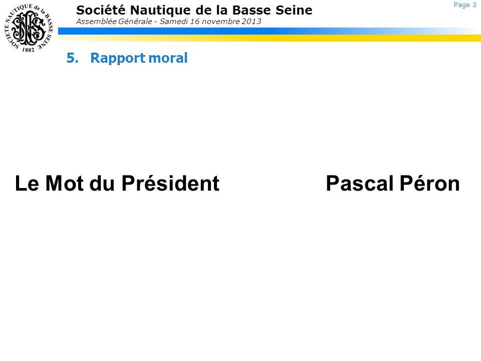 Le Mot du Président Pascal Péron