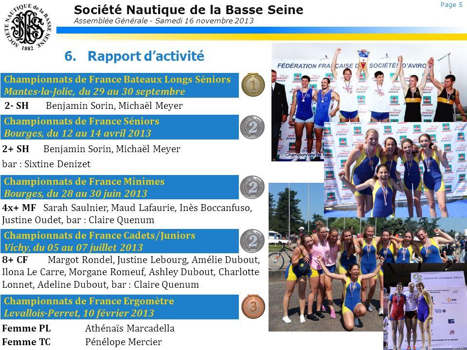 Rapport d'activité Championnats de France Bateaux Longs Séniors Mantes-la-Jolie, du 29 au 30 septembre.