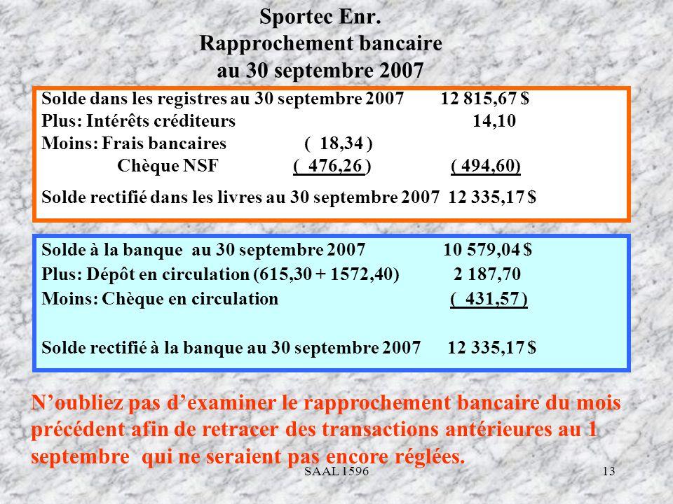 Sportec Enr. Rapprochement bancaire au 30 septembre 2007