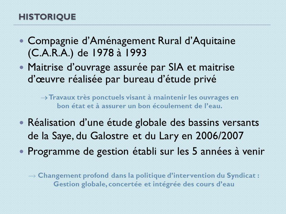 Compagnie d'Aménagement Rural d'Aquitaine (C.A.R.A.) de 1978 à 1993