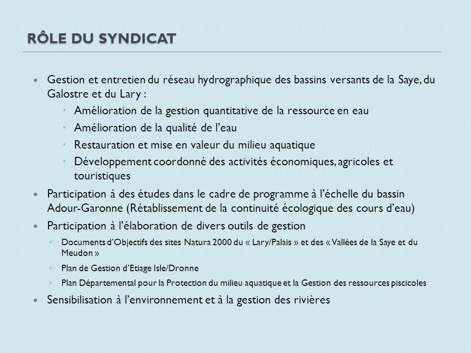 Rôle du syndicat Gestion et entretien du réseau hydrographique des bassins versants de la Saye, du Galostre et du Lary :