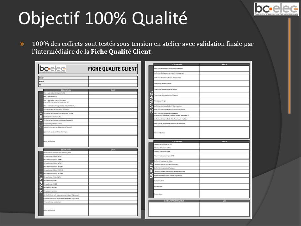 Objectif 100% Qualité 100% des coffrets sont testés sous tension en atelier avec validation finale par l'intermédiaire de la Fiche Qualité Client.