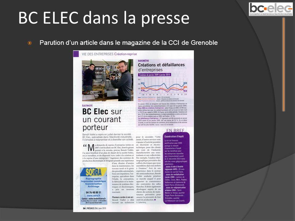 BC ELEC dans la presse Parution d'un article dans le magazine de la CCI de Grenoble