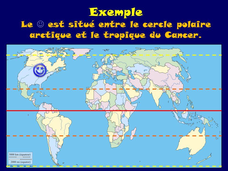 Exemple Le  est situé entre le cercle polaire arctique et le tropique du Cancer.