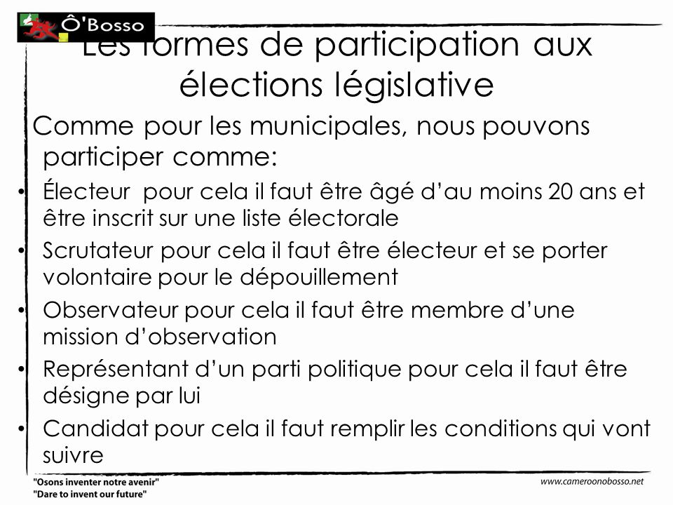 Les formes de participation aux élections législative