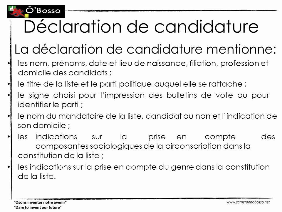 Déclaration de candidature