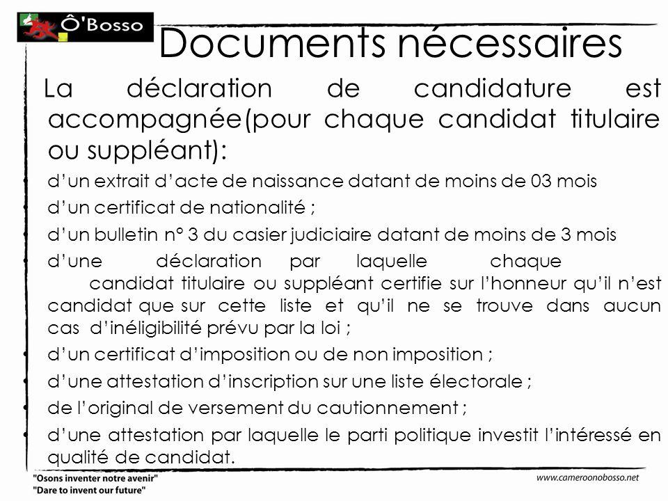 Documents nécessaires
