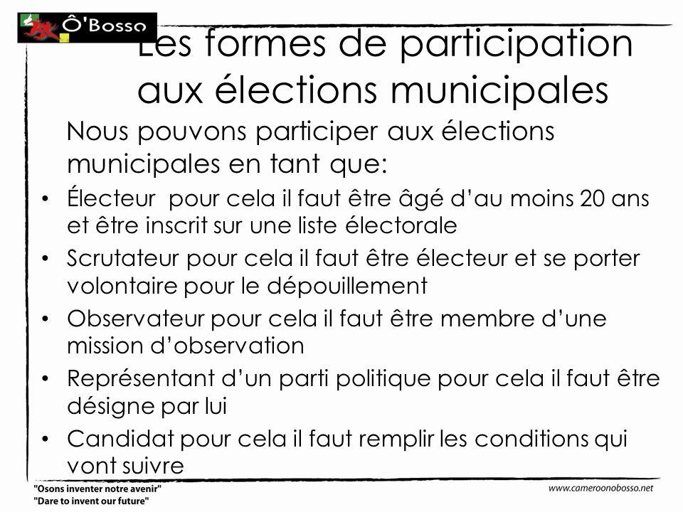 Les formes de participation aux élections municipales
