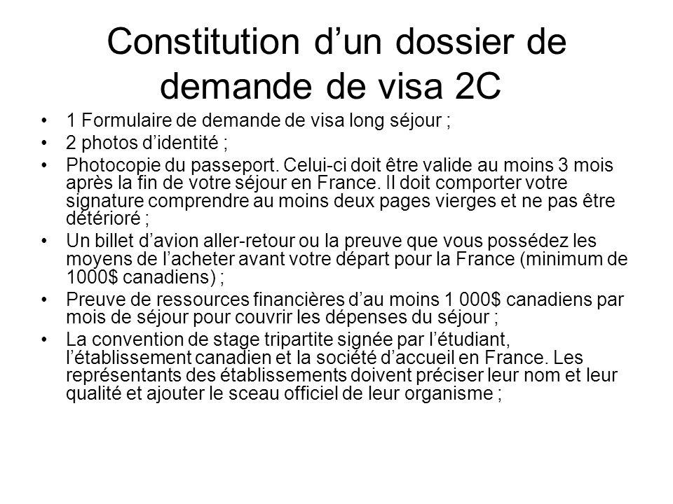 Constitution d'un dossier de demande de visa 2C