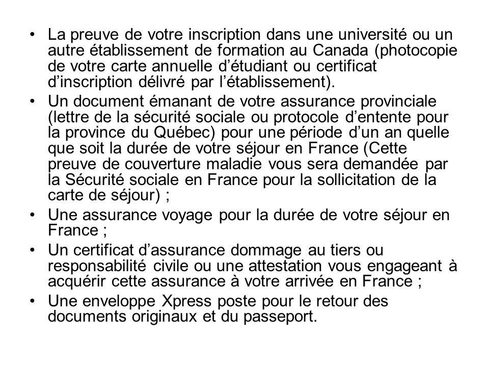 La preuve de votre inscription dans une université ou un autre établissement de formation au Canada (photocopie de votre carte annuelle d'étudiant ou certificat d'inscription délivré par l'établissement).