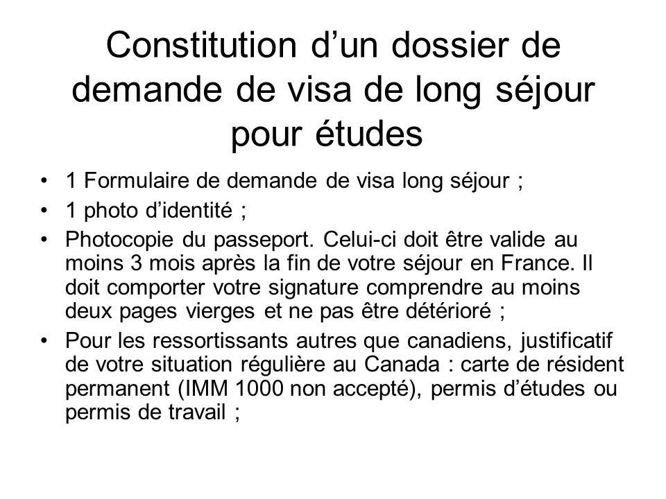 Constitution d'un dossier de demande de visa de long séjour pour études