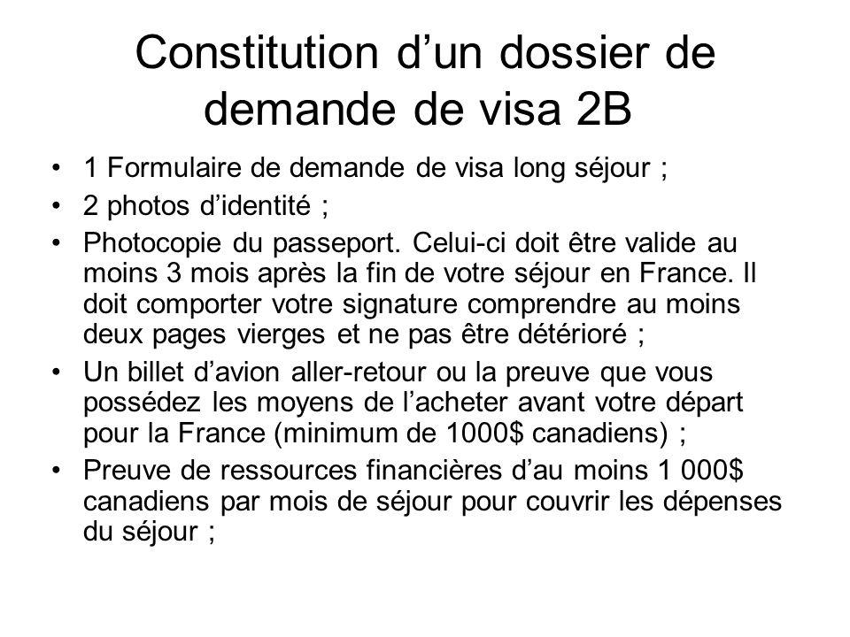 Constitution d'un dossier de demande de visa 2B