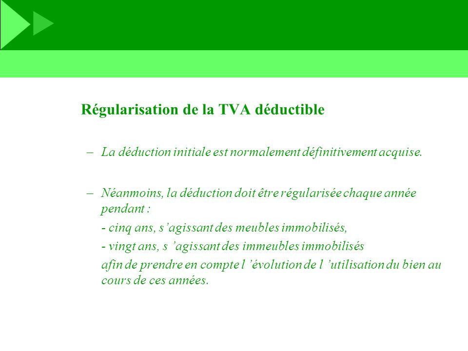 Régularisation de la TVA déductible