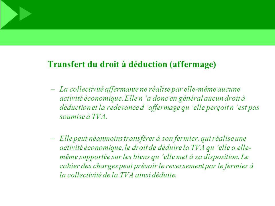 Transfert du droit à déduction (affermage)