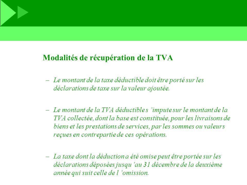 Modalités de récupération de la TVA