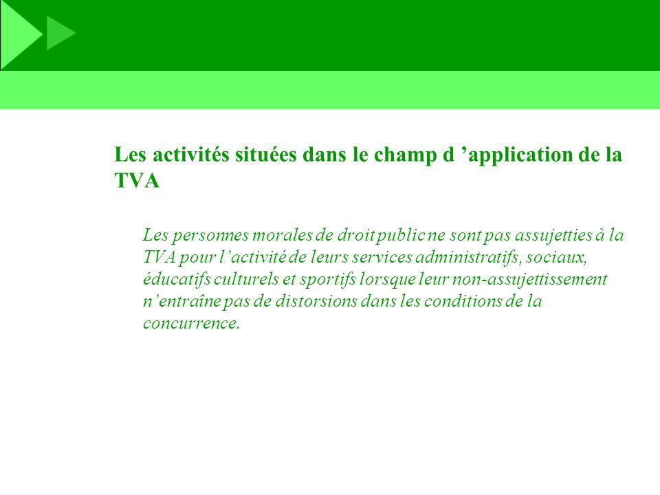 Les activités situées dans le champ d 'application de la TVA