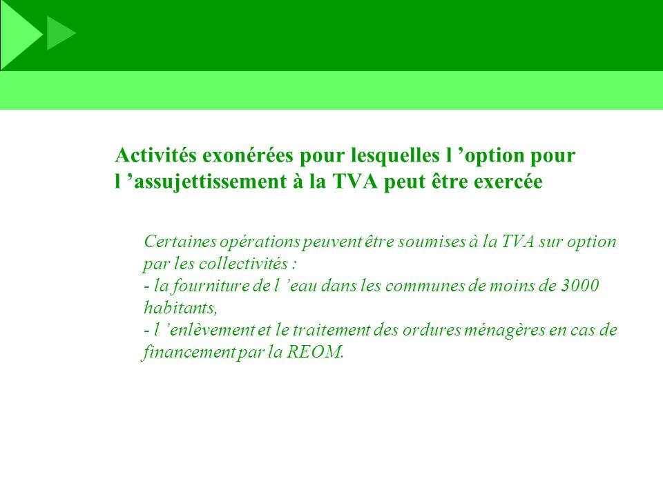 Activités exonérées pour lesquelles l 'option pour l 'assujettissement à la TVA peut être exercée