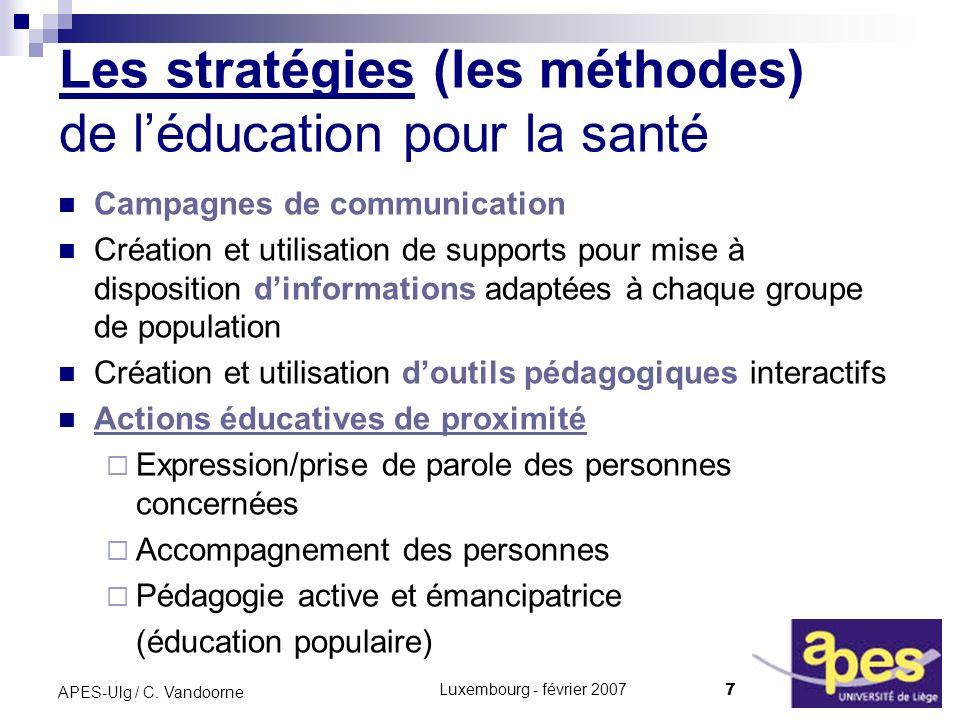 Les stratégies (les méthodes) de l'éducation pour la santé