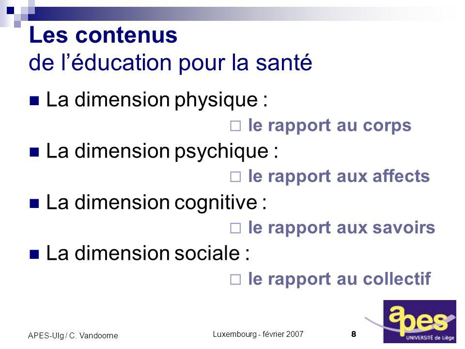 Les contenus de l'éducation pour la santé
