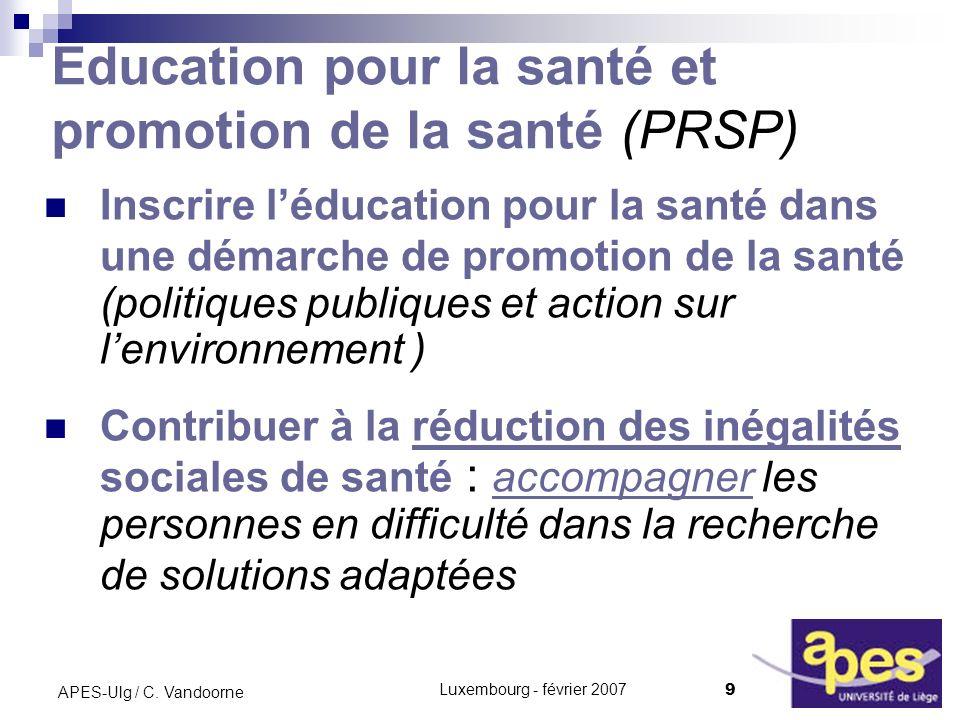Education pour la santé et promotion de la santé (PRSP)