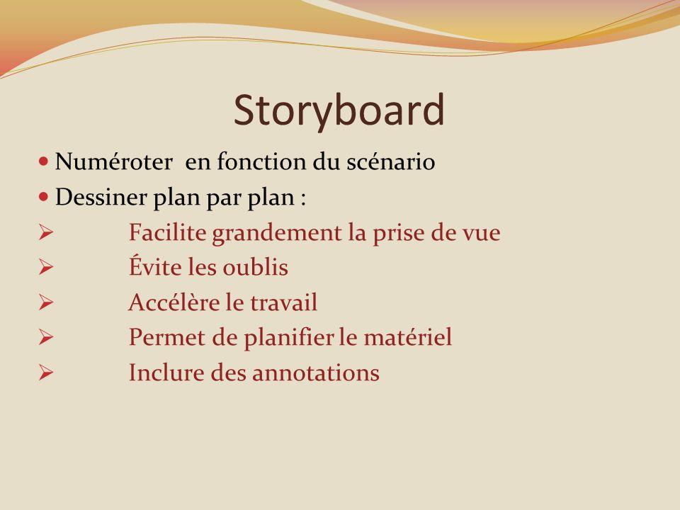 Storyboard Numéroter en fonction du scénario Dessiner plan par plan :