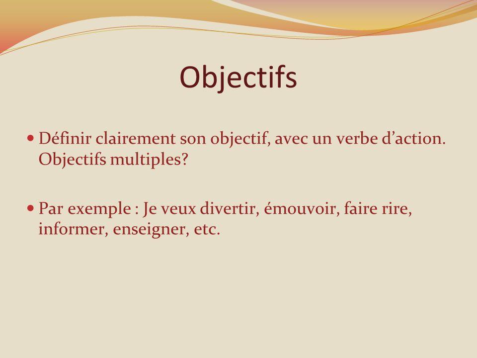 Objectifs Définir clairement son objectif, avec un verbe d'action. Objectifs multiples