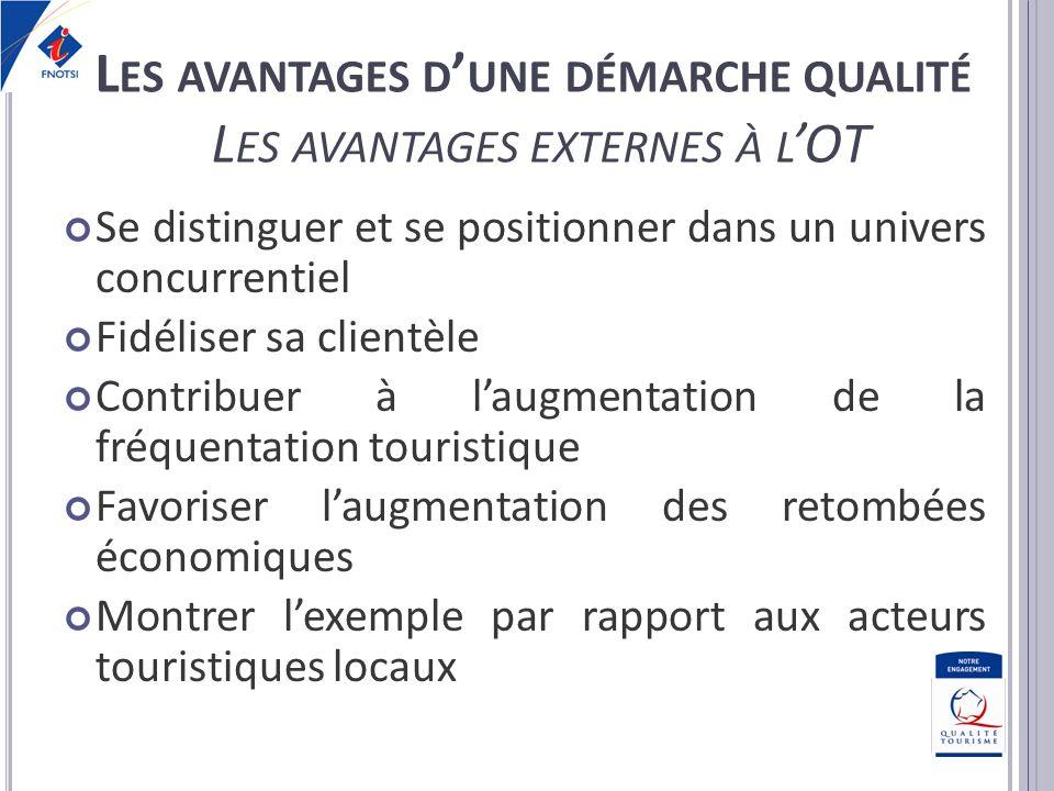 Les avantages d'une démarche qualité Les avantages externes à l'OT