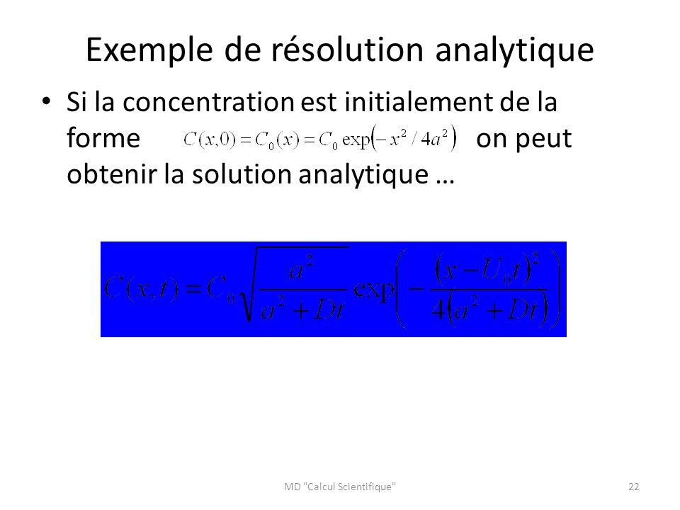 Exemple de résolution analytique