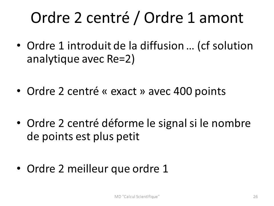 Ordre 2 centré / Ordre 1 amont