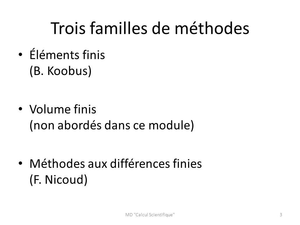 Trois familles de méthodes