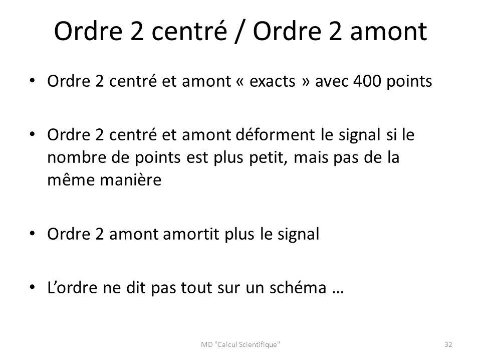 Ordre 2 centré / Ordre 2 amont