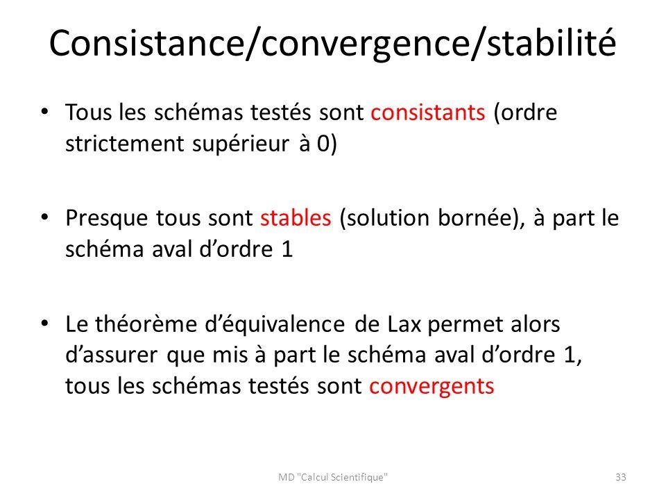 Consistance/convergence/stabilité