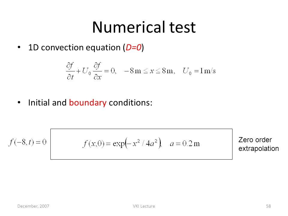 Numerical test 1D convection equation (D=0)