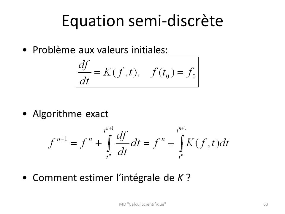 Equation semi-discrète