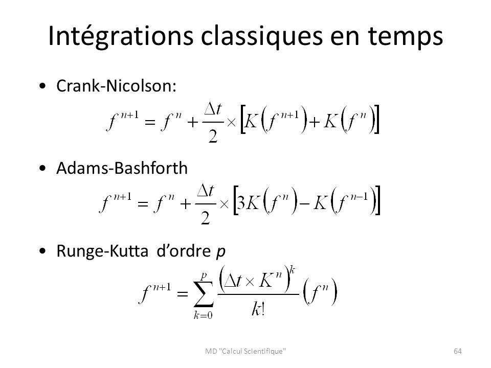 Intégrations classiques en temps