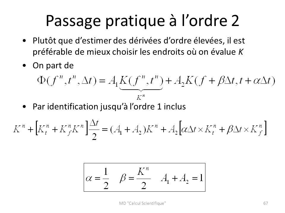 Passage pratique à l'ordre 2