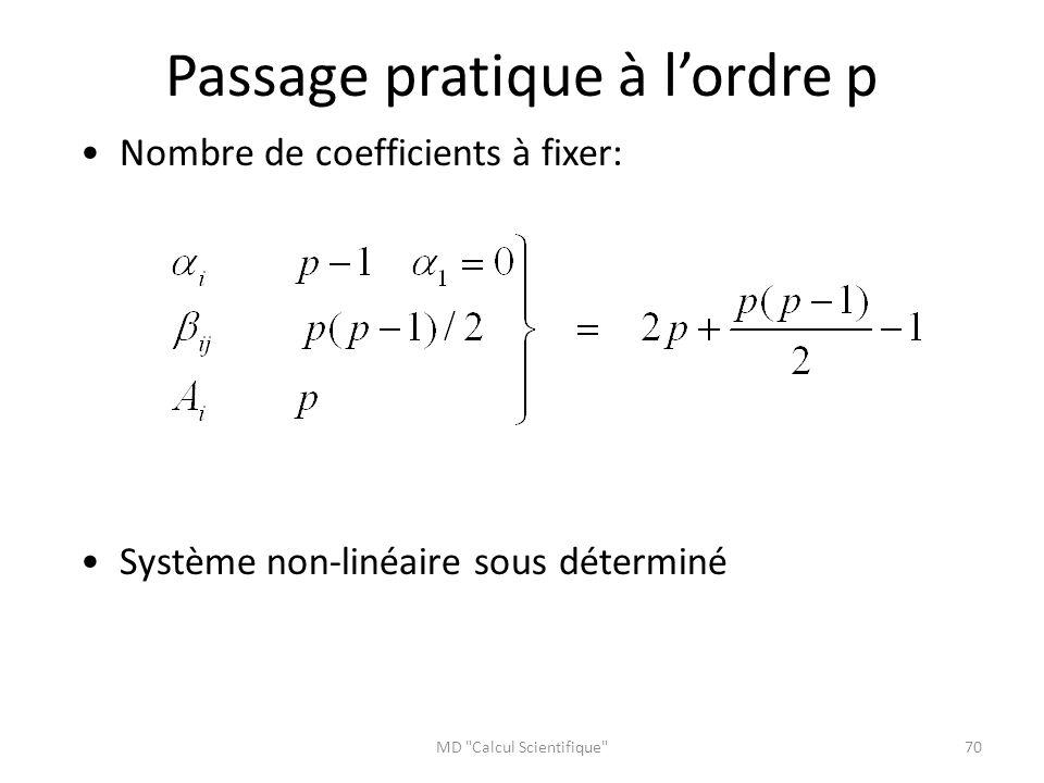 Passage pratique à l'ordre p