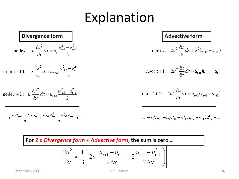 Explanation Divergence form Advective form