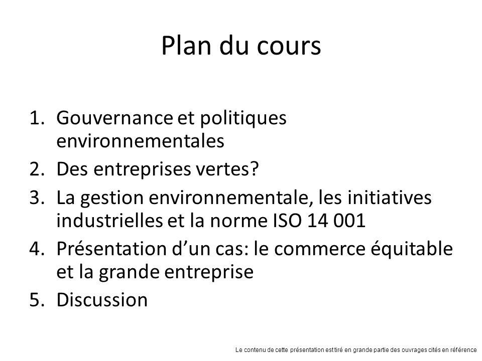 Plan du cours Gouvernance et politiques environnementales