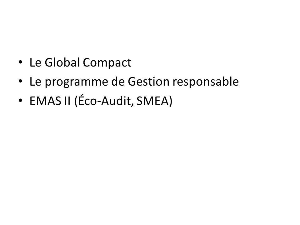 Le programme de Gestion responsable EMAS II (Éco-Audit, SMEA)