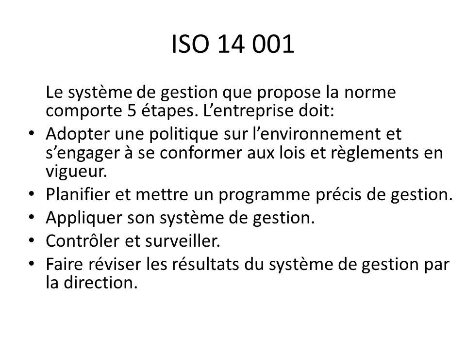 ISO 14 001 Le système de gestion que propose la norme comporte 5 étapes. L'entreprise doit: