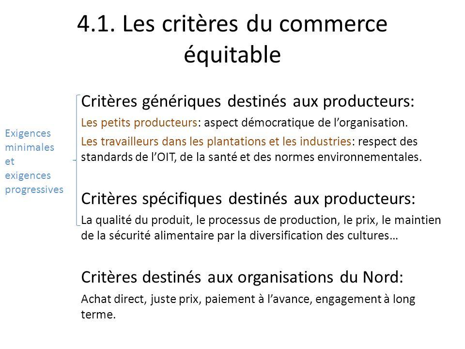 4.1. Les critères du commerce équitable