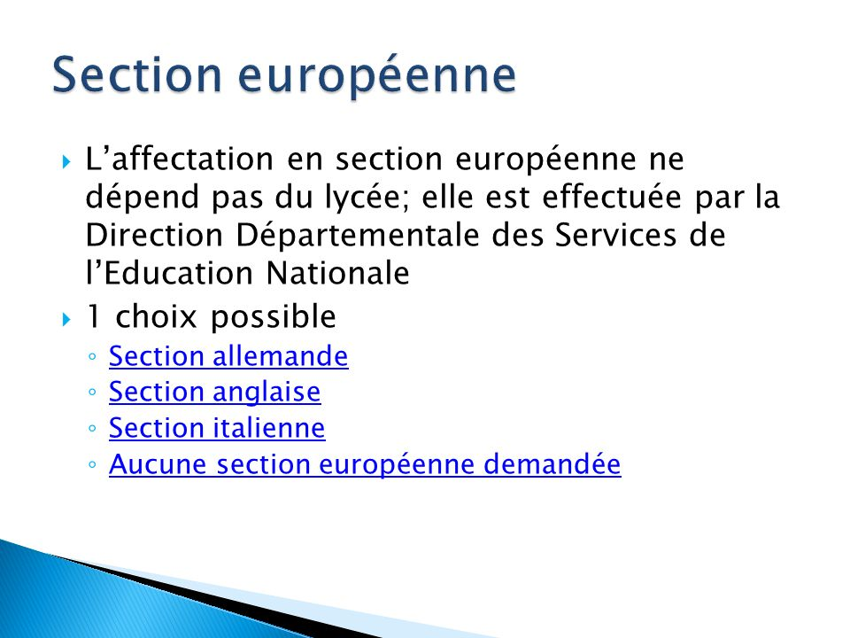 Section européenne