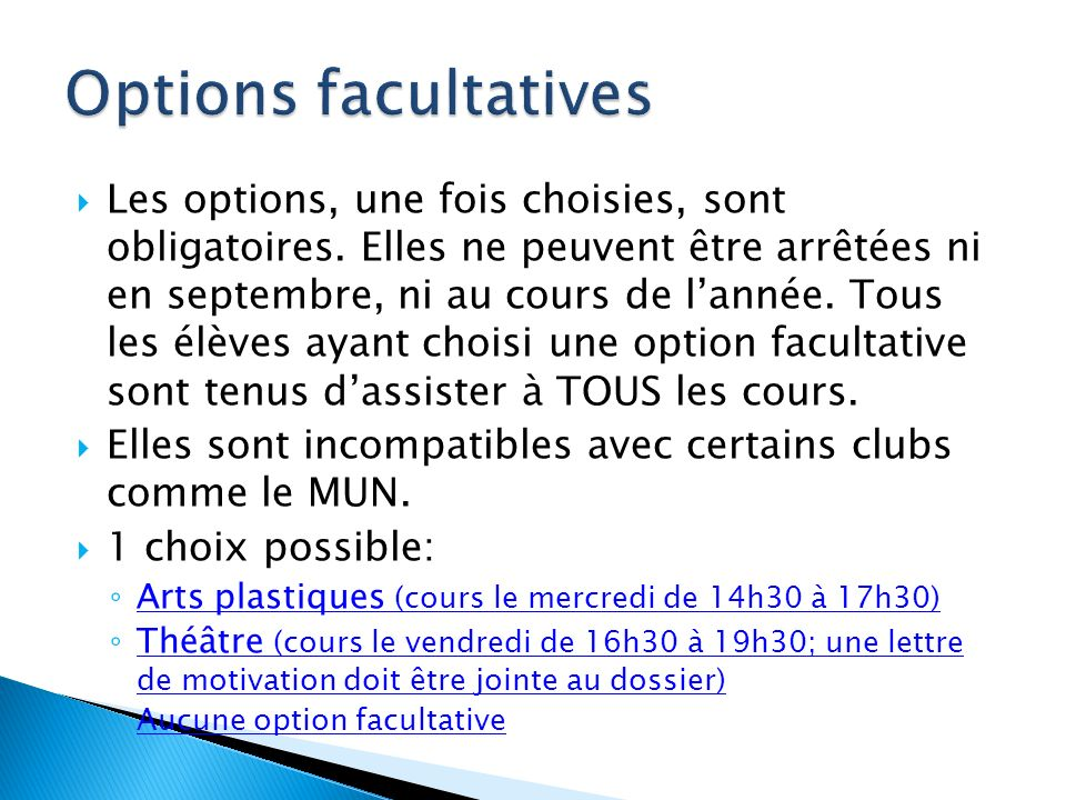 Options facultatives
