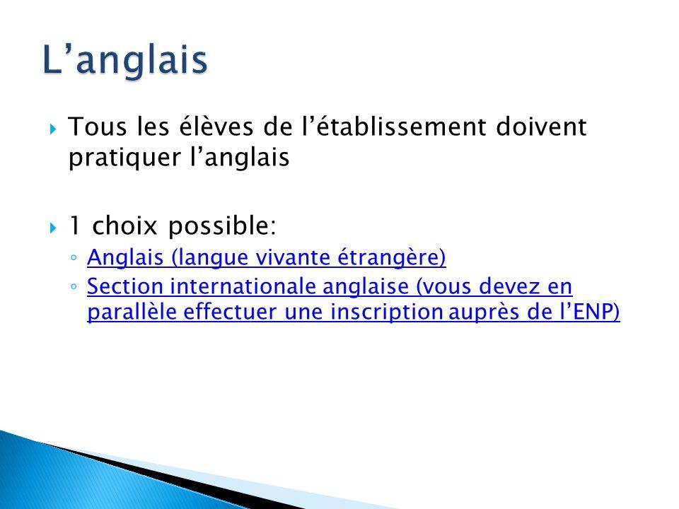 L'anglais Tous les élèves de l'établissement doivent pratiquer l'anglais. 1 choix possible: Anglais (langue vivante étrangère)