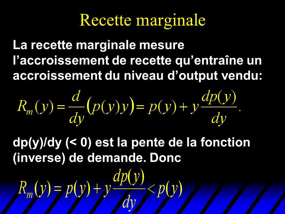 Recette marginale La recette marginale mesure l'accroissement de recette qu'entraîne un accroissement du niveau d'output vendu:
