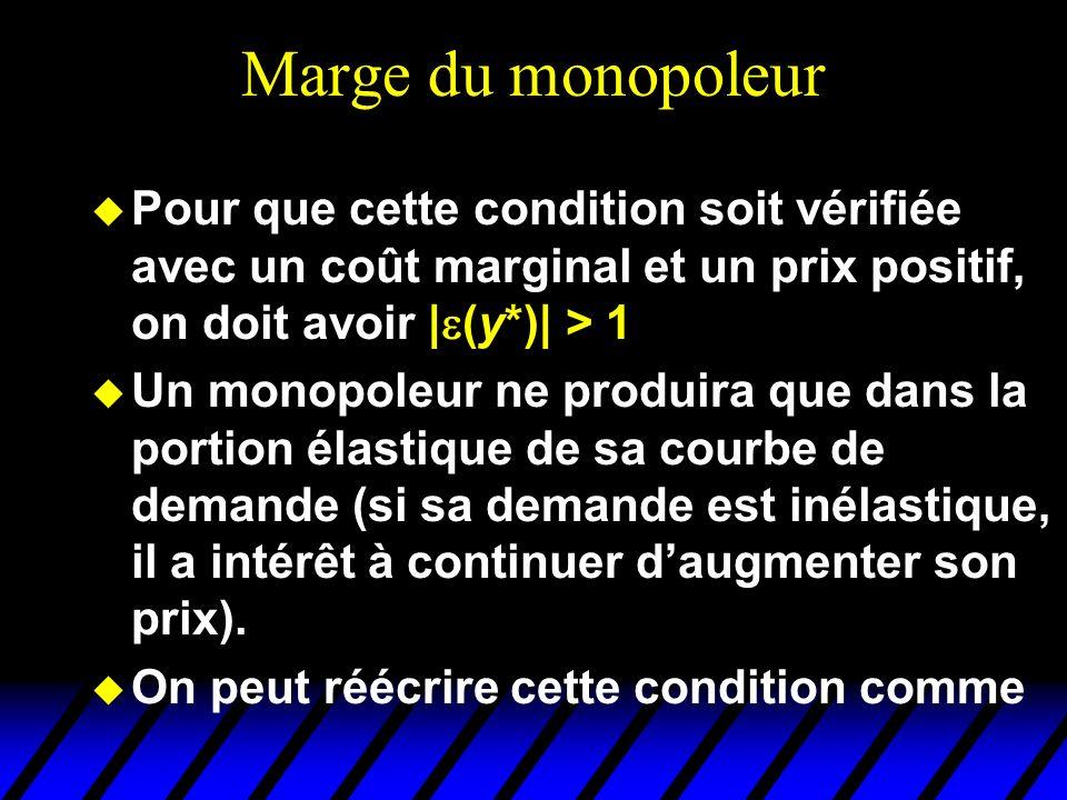 Marge du monopoleur Pour que cette condition soit vérifiée avec un coût marginal et un prix positif, on doit avoir |(y*)| > 1.