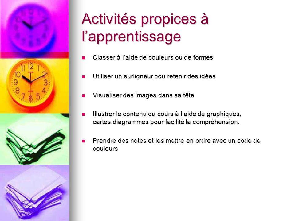 Activités propices à l'apprentissage